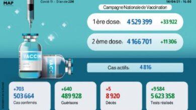 Photo of Covid-19: 703 nouveaux cas, près de 4,5 millions de personnes vaccinées